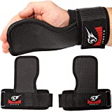 Armageddon Sports Weight Lifting Hand Grips Workout Pads with with Built in Adjustable Wrist Support Wraps for Power Lifting Pull Up Fitness Gym - Fitness Gloves Alternative