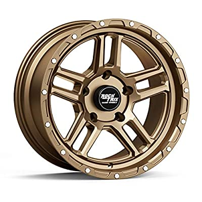 RockTrix RT109 17 inch Wheel Compatible with Jeep Wrangler JK JL 5x5 Bolt Pattern 17x9 (-12mm Offset, 4.5in Backspace) 71.5mm Bore, Bronze, Also fits Gladiator JT - 1pc