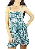 Vestido Corto De Verano Floral Verde - Tejido Grueso Y Elástico (38)