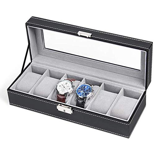 in Line Lock Grey Velvet Watch Box Leather Six Watch Display Box Watch Jewelry