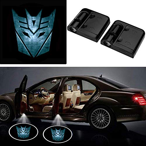 2Pcs for Car Door Logo Projector Lights,LED Ghost Shadow Emblems Wireless Door Logo Shadow Ghost Lights For (Transformers Decepticons blue)