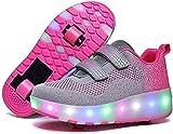 Patines Zapatos de rodillos para niños con ruedas retráctiles LED rodillo de patinaje de rodillo para niños para niños Niños Junior Boys Girls Mujeres Deportes al aire libre Fitness Para mujeres y hom