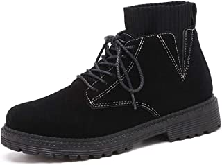 Xujw-shoes store, 2019 Mens New Lace-up Flats Mens Combat Boots High Top for Men Classic Lace Up Style Elastic Socks Collar Suede Vamp Fleece Inside Round Toe Experienced Stitched Outdoor