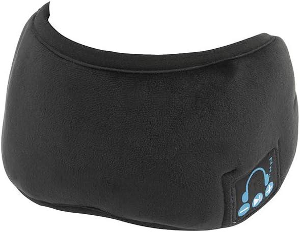 Fullgaden Bluetooth 5.0 Eye Mask Sleep Headphone, Built-in Speakers Microphone Handsfree Adjustable Washable for Travel, Yoga,Rest, Black
