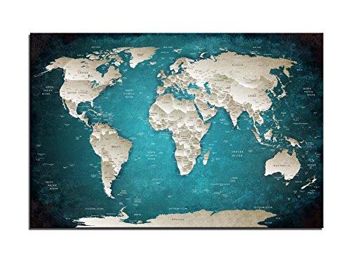 Dsign24 Weltkarte edel als Leinwandbild Wandbild 120 x 80 cm – Wanddeko, Kunstdruck, Keilrahmen Globus World TÜRKIS A05030