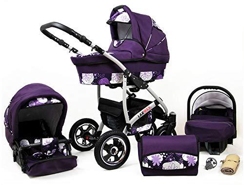 Lux4Kids Kinderwagen 3 in 1 Kombi Komplettset mit Autositz Isofix 2in1 Babywanne Babyschale Buggy Buggy Baby Larmax Lila & Blumen 2in1 ohne Babyschale