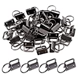Swpeet 45Pcs Gun-Black 1 Inch Key Fob Hardware with Key Rings Sets, Perfect for Bag Wristlets with Fabric/Ribbon/Webbing/Embossed and Other Hand Craft - 25mm