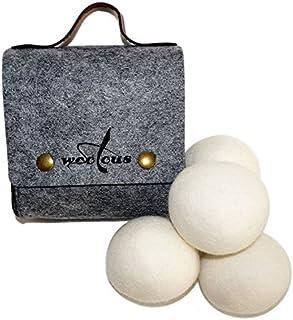 Woolous Wool Dryer Balls 4 Pack XL, Pure New Zealand Organic Natural Wool Felt Laundry Balls,Handmade, Reusable, Cut Dryin...