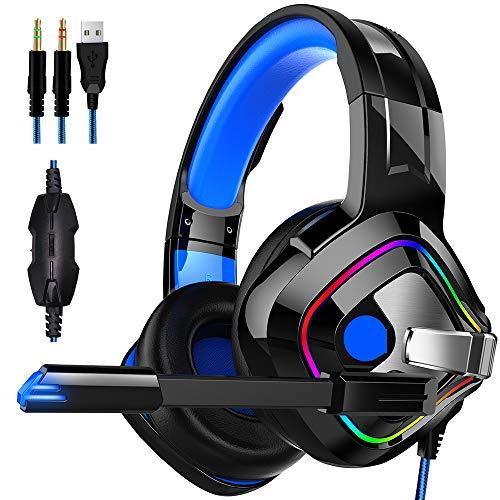 Casque de Jeu, Casque Filaire PC Gaming Casque avec réducteur de Bruit Mic, 50 mm Super Grand unité d'entraînement de Haut-parleurs, Over Ear Gaming Casque pour PC/Mac / PS4 / Xbox