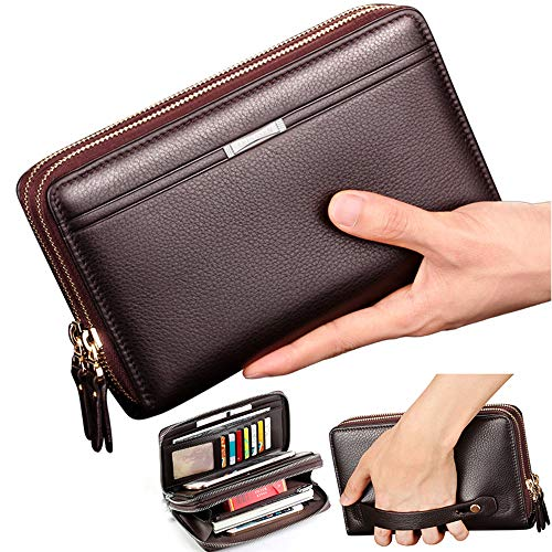 Black Sales Friday Deals Mens Long Leather Cellphone Clutch Wallet Purse for Men Large Travel Business Hand Bag Cell Phone Holster Card Holder Case Gift for Father Son Husband Boyfriend (Brown)