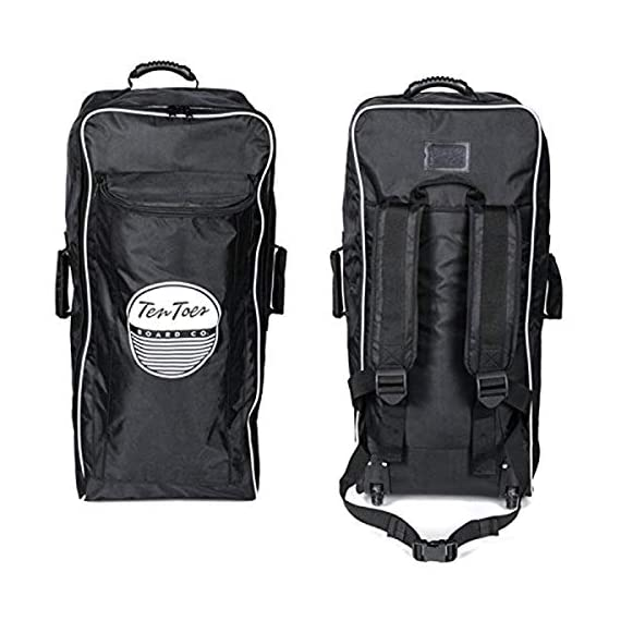 Ten Toes SUP Emporium Ten Toes Nomad Istand Up Paddle Board Roller Bag with Wheels 1 Heavy-duty nylon bag with super tough wheels for effortless transporting and storing your inflatable standup paddle board Rolled up inflatable standup paddle boards fit in the larger zipped compartment while accessories will fit in the front pocket Fits Retrospect's WEEKENDER, WEEKENDER-TOURING, and WEEKENDER-NANO inflatable standup paddle boards