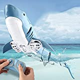 CUUGF Hot RC Simulation Shark Toys 2.4G 4CH Impermeable Control Remoto eléctrico Shark Boat Piscina...