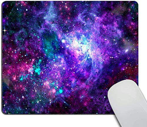 Mouse pad,Purple Space Galaxy Cosmic Spacey Teal Pink Sky Wrapping Paper Pattern Waterproof Anime Gaming Gift Mouse Pad Desk Accessories Non-Slip Rubber Mousepad for Laptop Wireless Mouse