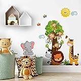 R00355 Adesivo murale per bambini - Baby safari 2 - Misure 30x120 cm - Decorazione parete, adesivi per muro, Carta da Parati Adesiva Effetto Tessuto