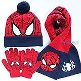 3 – 12 años de edad otoño/invierno de Spider-Man, juego de 3 piezas de guantes para niños, cuello Superman, otoño/invierno al aire libre, XS 4, doble capa con bufanda de doble capa y guantes.
