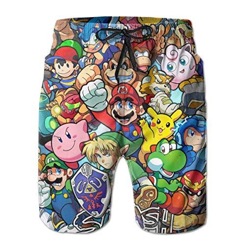 The Legend of Zelda Pikachu Super Mario Smash Bros Kirby Herren-Badehose, schnelltrocknend, lässig, Strand-Shorts, Badeanzüge mit Kordelzug und Netzfutter. Gr. S 7-9, weiß