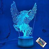 Luces de unicornio 3D Lámpara de ilusión de hadas 16 colores y control remoto Escritorio...