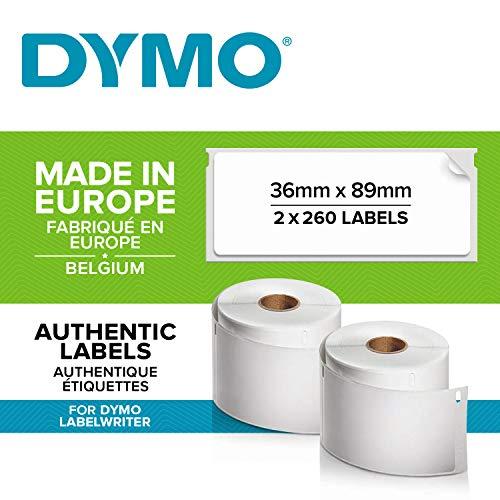 Dymo Lw-Etiketten Voor Grote Adressen, Zelfklevend, Voor Labelwriter, Originele Etiketten, 2 Rollen Met 260 Etiketten, Gemakkelijk Verwijderbaar, 36 Mm X 89 Mm
