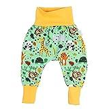 Lilakind Pantalones bombachos para bebé, diseño de animales de zoo en verde y amarillo, tallas 50/56-98/104, fabricado en Alemania Verde y amarillo. 56 cm