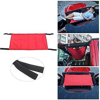 JeCar New Style Car Roof Waterproof Hammock Car Bed rest for 1987-2017 Jeep Wrangler YJ, TJ, JK & JKU 4-door(Red)
