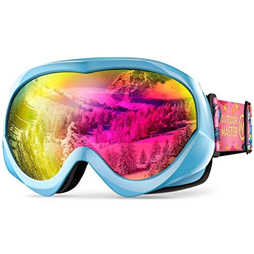 OUTDOUTDOORMASTER子供用スキーゴーグル UV400 紫外線100%カット メガネ対応 子ども スノーゴーグル 180°広視野 スノボートゴーグル 曇り止め 防風防塵防雪 防放射 耐衝撃 冬山登山/サバゲー/バイク/スキー運動に全面適用 スポ