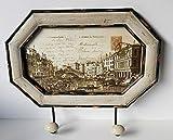 La Finesse Perchero de pared Venecia con foto y 2 ganchos de madera y hierro, vintage, aprox. 36 x 30 cm