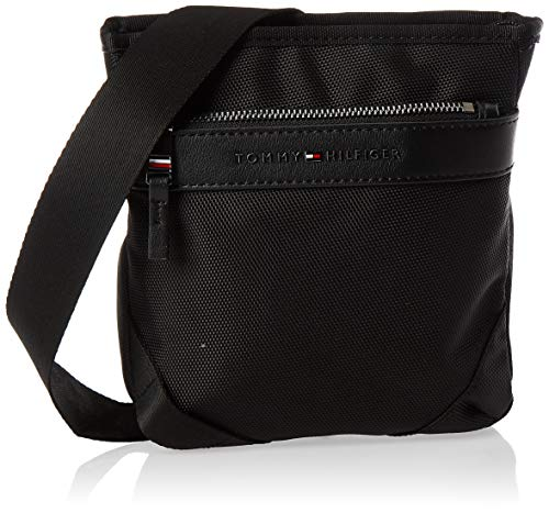 Tommy Hilfiger Herren Elevated Nylon Mini Crossover Münzbörse, Schwarz (Black), 20.5x18.5x4cm