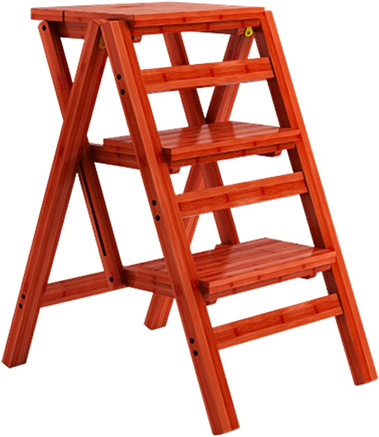 Folding Steps Stool Multifunction Ladder Chair Stool Bamboo Wooden Foldable Shelving Staircase Chair Home Library 3 Steps 150kg Capacity - Brown