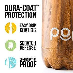 POP Bouteille d'eau Isotherme de Design, Garde Froid 24h ou Chaud 12h, Isolant sous Vide en Acier Inoxydable, Anti-Condensation et Anti-Fuites, Goulot Étroit et sans BPA, 500 ML, Zebrana