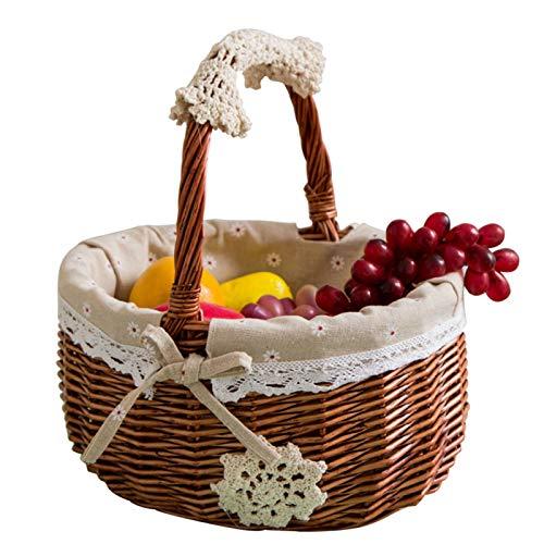 the teapot company Cesto da Picnic Intrecciato a Mano, Cesto di Frutta Portatile Multifunzionale in Rattan può Contenere Cestino della Spesa di Uova e Verdure (Taglia : S)