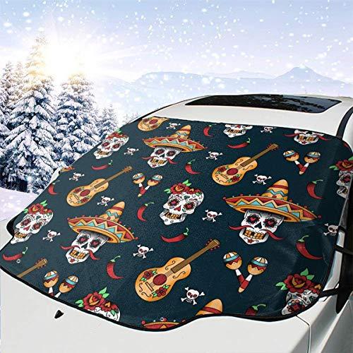 Mexikaner Sugar Skulls Chili Car Front Windshield Schneedecke Schnee und EIS Schutz Im Winter für Automobil Fahrzeug Minivan 58×46.5 Zoll