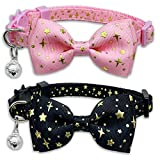 2 Pack Cat Collar with Bow Tie and Bell, Kitty Kitten Starshine Collar Breakaway Collar for Males Females Boys and Girls Cats (Pink+Black)