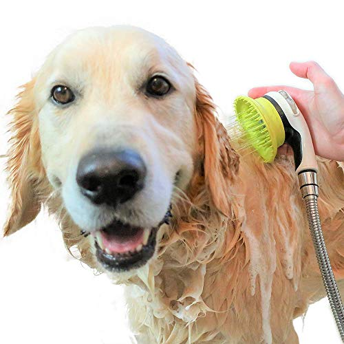 Wondurdog Quality Dog Wash Kit for Shower | Water Sprayer Brush & Rubber Shield | Shield Water from Dogs Ears, Eyes and Yourself! | Indoor and Indoor/Outdoor Versions Available