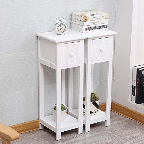 EXQUI Bedside Tables Set of 2 with Drawer White Slim Living Room Tables Small Nightstand with Drawers Telephone End Table for Small Space (25x25x70cm),G139W2