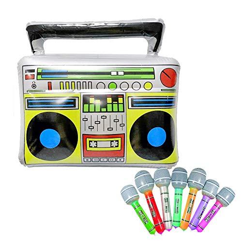 Surenhap Juguete de Instrumentos Musicales PVC Radio inflables Micrófono de Juguete para Materiales de Fiesta, Colores Variados