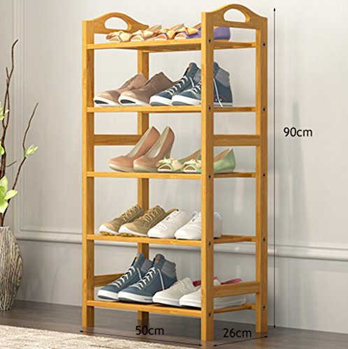 ZZYE Zapatero 5 niveles zapatos zapatos sólidos de madera-estantería de almacenamiento multifuncional Muebles de gabinete de muebles de bambú Estantes organizadores (L) 50/60 / 80x (d) 26x (H) 90 cm P