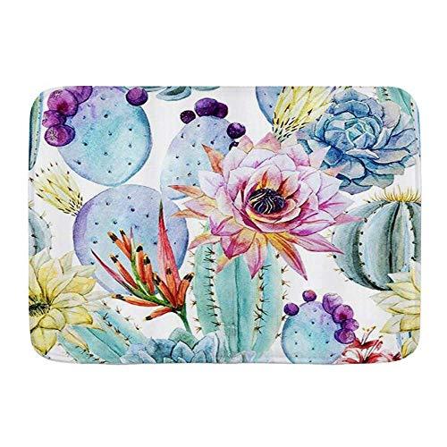 Fußmatten, Aquarellkakteen Tropische Blumen Stachelige Wüste Sukkulente Kakteen Pflanze, Küchenboden Badteppichmatte Saugfähig Innenbad Dekor Fußmatte Rutschfest