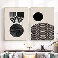 現代幾何学サークルポスター自由奔放に生きる現代世紀の壁アートキャンバスプリント抽象絵画リビングルームアート壁の装飾30x40cmx2内枠