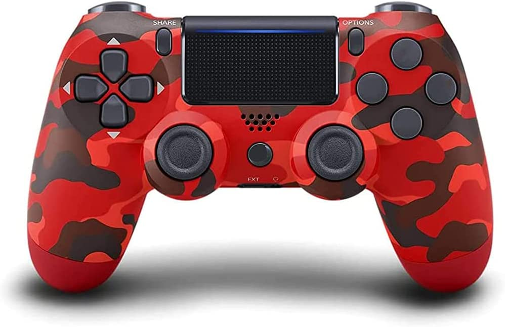 PS4 Controller Wireless Bluetooth Gamepad, Touch Panel with Dual Vibration and Audio Function Anti-Slip Grip for Plays 4/Pro/Slim/PC (Red Camouflage)