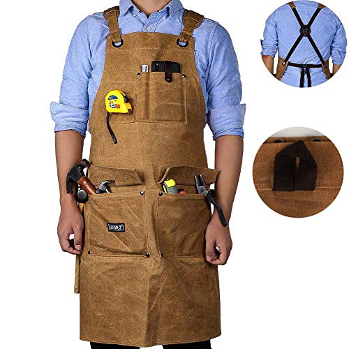 Wood Working Apron,16 OZ Waxed Canvas Tool Apron for Men & Women, Shop Apron with Cross-Back Straps,Adjustable M to XXL (Brown)