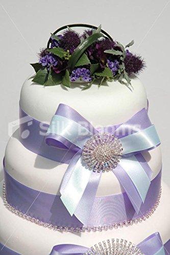 Silk Blooms Ltd Stunning, Scottish Thistle, Heather & Lisianthus Cake Topper