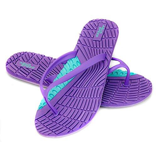 Aqua-Speed Bahama Damen Badeschuhe/Zehentrenner/Strandschuhe (violett/türkis, 38)