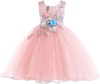 LIVFME 2-8Y Flower Girls Dresses Embroidered Party Pageant Kids Prom Ball Gowns