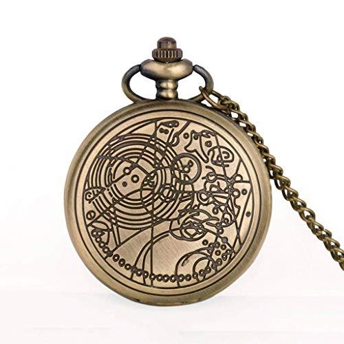QZH Antiguo Steampunk Movie Theme Reloj de Bolsillo Bronce Cuarzo Colgante Reloj Regalo Hombres Mujeres Niños