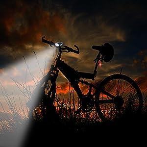 Tomshine Luz Bicicleta LED USB, Super Brillante LED Luz Delantera de la Bici y Luz de la Cola, 250LM 120dB Altavoz USB Recargable Impermeable Luces Ciclismo