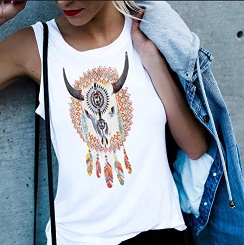 LIYDENG Camiseta sin mangas con estampado vintage para mujer, S blanco, sexy, sin mangas, chaleco Harajuku 3XL, 4XL, ropa de verano (color: 2, tamaño: XXXL)