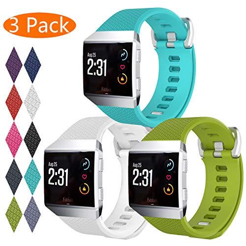 KingAcc Kompatibel Fitbit Ionic Armband, Weiche Silikon Ersatz Armbänder Armband für Fitbit Ionic, Metall Schnalle Fitness Armband Uhrenarmband Frau Männer(3-Pack, Series-C, Groß)