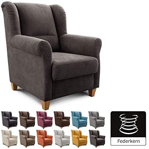 Cavadore Sessel Finja mit Federkern / Ohrensessel im Landhausstil / passender Hocker separat erhältlich / 87 x 102 x 96 / Webstoff Dunkelgrau