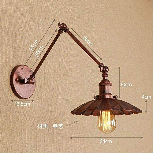 Meixian Wandlamp, smeedijzer, lange mouwen, ijzer, kleur industrieel retro, schaalbaar, slaapkamer, eetkamer, hal, arm, lengte 15 + 15 cm, eenvoudig retro
