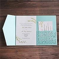 封筒付きの結婚式の招待カードは、ブルーバーガンディグリーン50枚の印刷を招待します。-light_blue_blank_whole_set